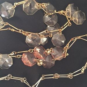 "Anthropologie 19"" Peach/Green Crystal Silver/Gold"
